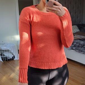 JCrew Orange Knit Long Sleeve Crew Neck Sweater